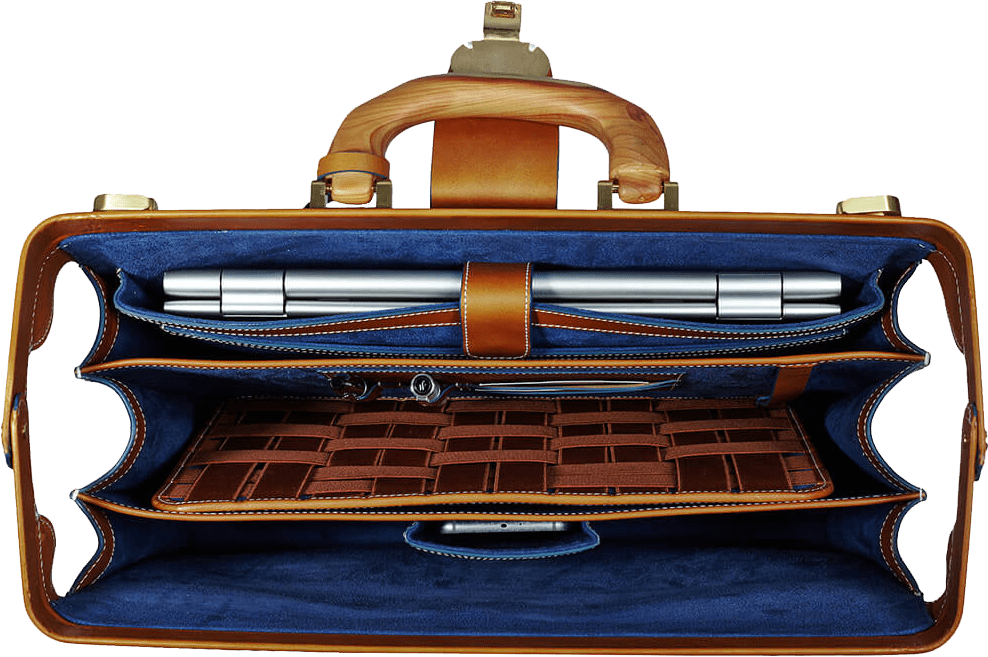 Signature Briefcase with wooden handle interior