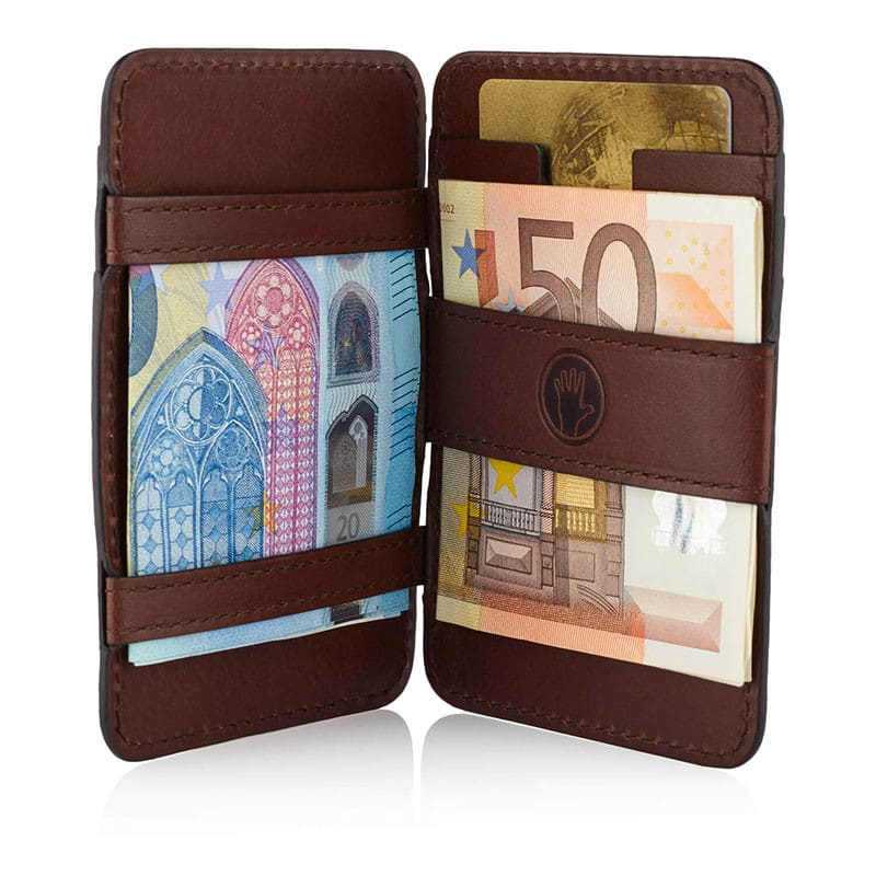 Magic Wallet in Chocolate Brown with tone on tone stitching
