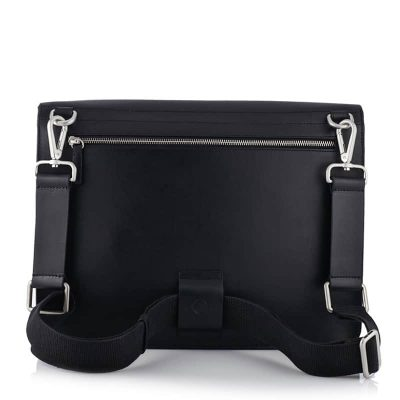 Contemporary Messenger Backpack in Black colour leather