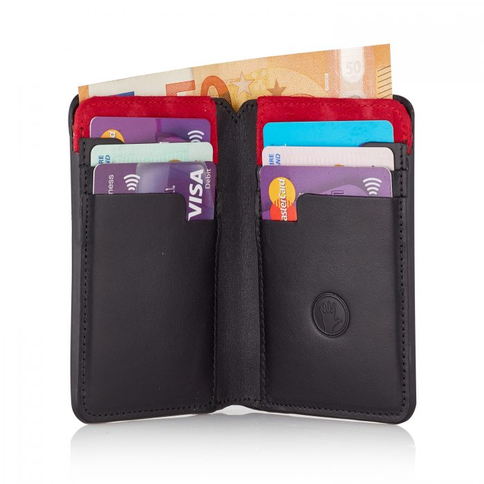 Stairway Wallet with Luxury Red Suede with cash and cards