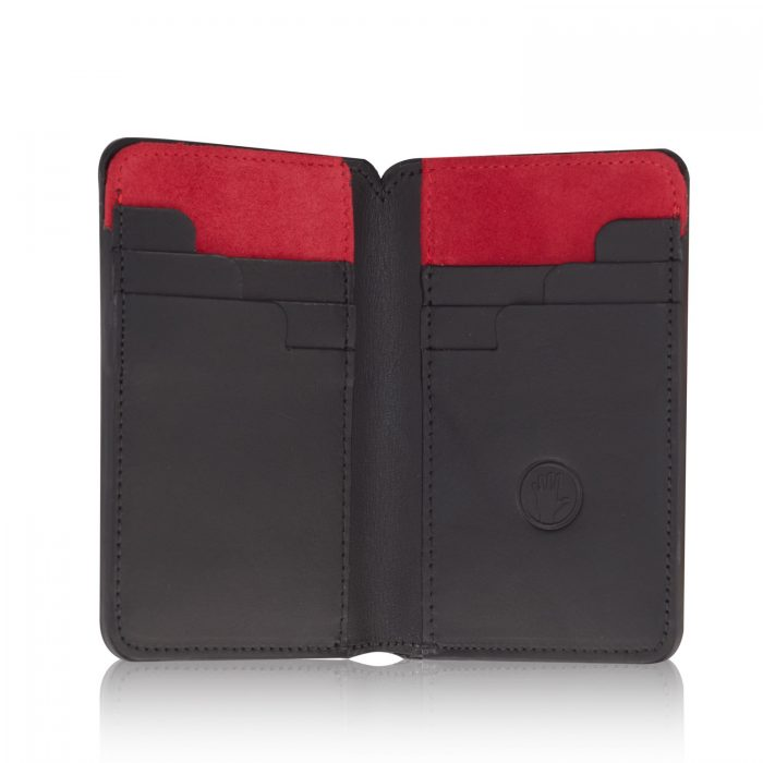 Stairway Wallet with Luxury Red Suede open